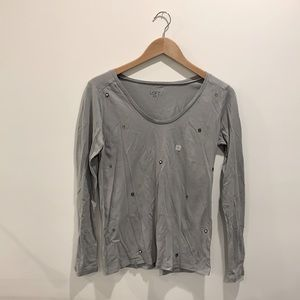 NWT LOFT Outlet Long Sleeve Beaded Detail Top